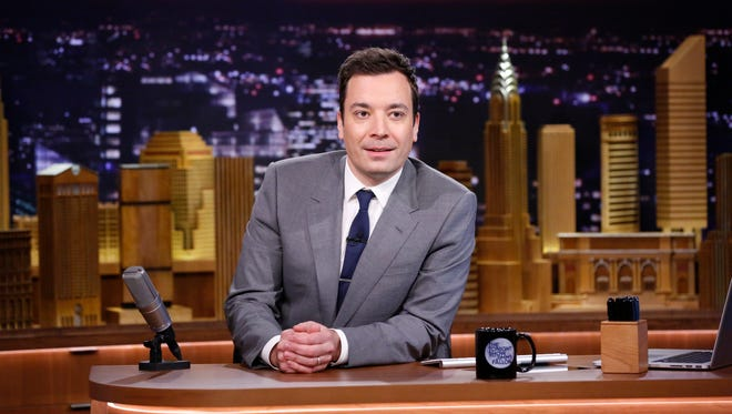 "Jimmy Fallon appears during his ""The Tonight Show"" debut in New York in February."