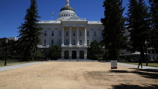 The lawn California State Capitol is seen in Sacramento is seen on June 18, 2014 in Sacramento, California. As the California drought conitnues, the grounds at the California State Capitol are under a reduced watering program and groundskeepers have let sections of the lawn die off in an effort to use less water.  (Photo by Justin Sullivan/Getty Images) ORG XMIT: 498523367 ORIG FILE ID: 450822242