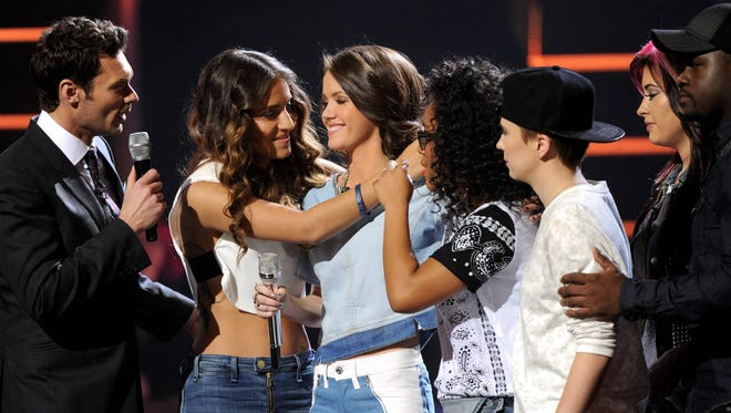 AMERICAN IDOL XIII: TOP 12: Kristen O'Connor (third from left) is eliminated on AMERICAN IDOL XIII airing Thursday, Feb. 27 on FOX. Pictured here, from left: Ryan Seacrest, Emily Piriz, O'Connor, Malaya Watson, MK Nobilette, Jessica Meuse.