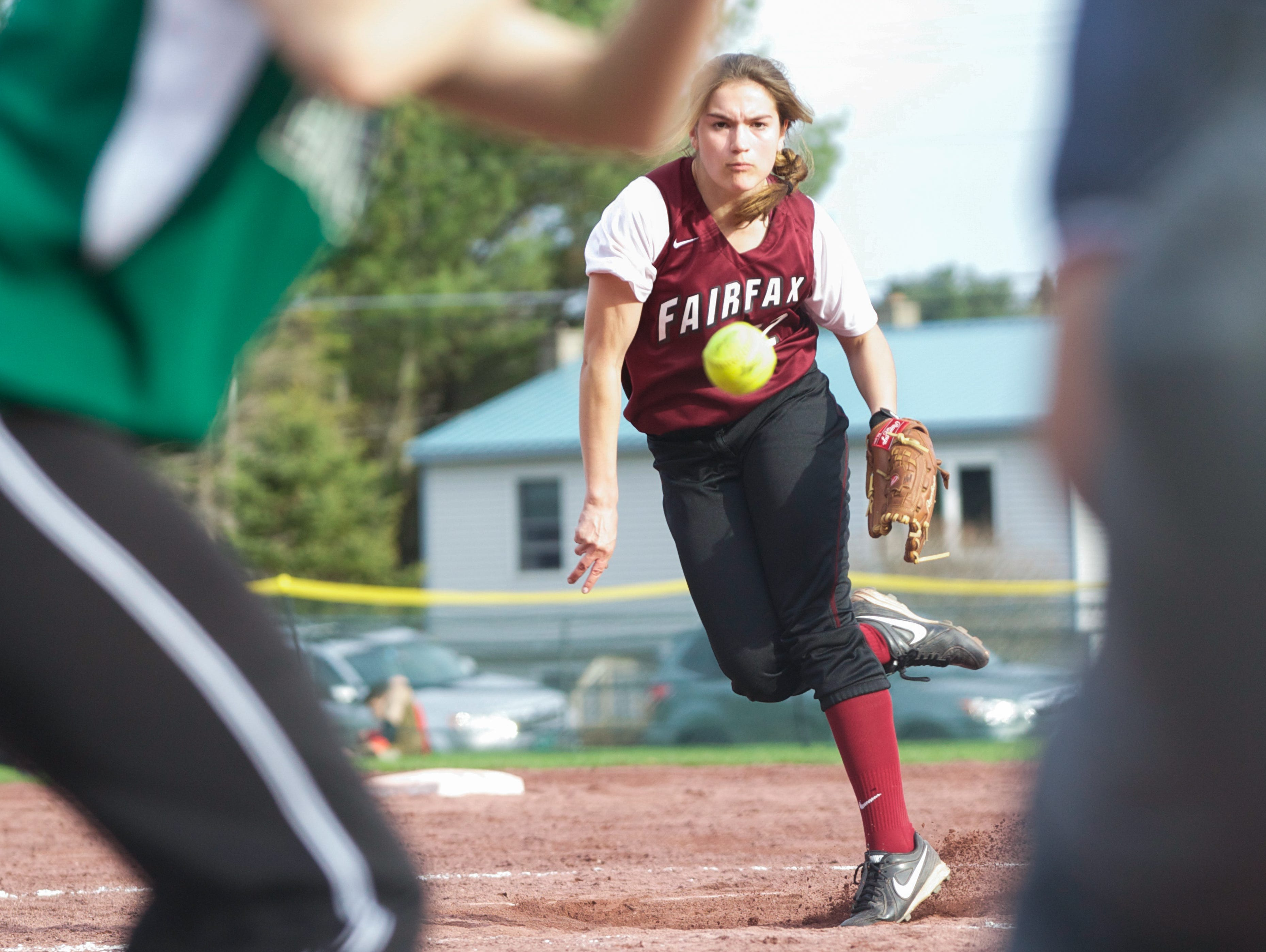 BFA-Fairfax's Gianna Trono fires in a pitch as the Bullets hosted Enosburg on Tuesday. Fairfax went on to win the game 11-1.
