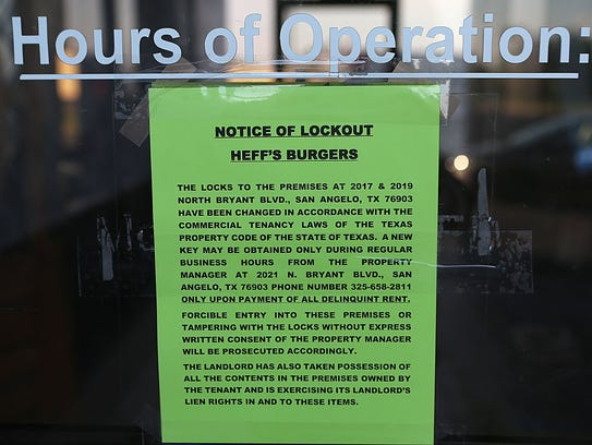 A Notice of Lockout is taped to the door at Heff's Burgers at 2017 N. Bryant Blvd. in San Angelo.