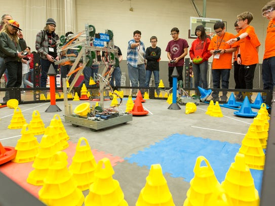 About 500 New Mexico students compete in the VEX Robotic Competition on Saturday, February 10, 2018, at the Activity Center on Campus.