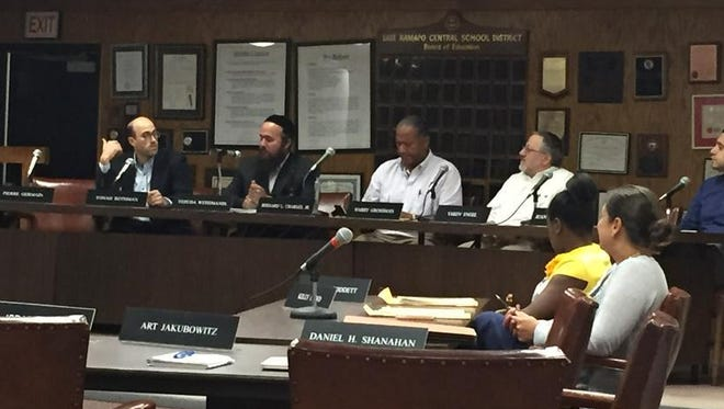 The East Ramapo school board at a reorganization meeting Tuesday night.