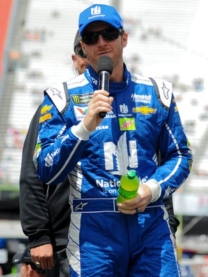 Monster Energy NASCAR Cup Series driver Dale Earnhardt Jr. addresses the crowd before the start of the Food City 500 at Bristol Motor Speedway.
