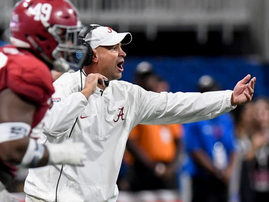 Alabama defensive coordinator Jeremy Pruitt in the Chick-fil-a Classic at the Mercedes - Benz Stadium in Atlanta, Ga., on Saturday September 2, 2017. (Mickey Welsh / Montgomery Advertiser)