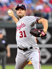 Max Scherzer led the NL with 20 wins.