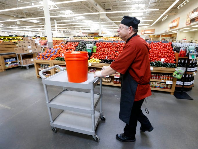 Monty Rouzer, a clerk in the Italian kitchen, pushes
