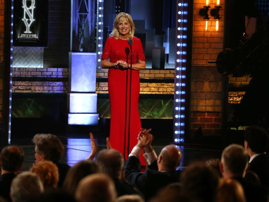 Jill Biden introduces a performance by the cast of