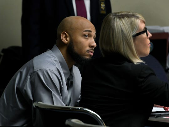 Brandon Donaldson, seated beside his attorney Chloe Akers, is back in Knox County Criminal Court Monday, July 16, 2018 for an appellate court ordered retrial from his 2015 conviction. Donaldson was found guilty in 2015 of second-degree murder in the deaths of Marcia Crider and her unborn child.