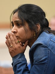 Mom on pins and needles as Divya Naraya listens to her daughter Shriya Naraya spell a word during the Tri State Spelling Bee held at the Ivy Tech Auditorium Saturday, March 4, 2017.