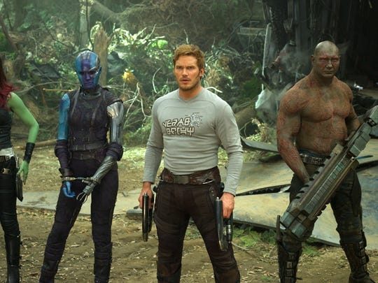 "Zoe Saldana, from left, Karen Gillan, Chris Pratt, Dave Bautista and Rocket, voiced by Bradley Cooper, in a scene from, ""Guardians Of The Galaxy Vol. 2."""