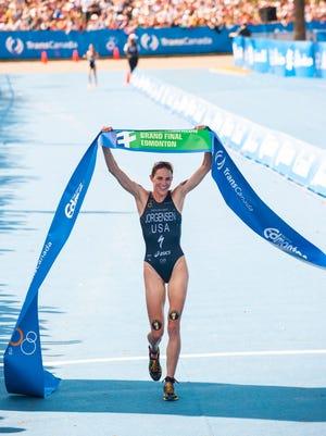 Gwen Jorgensen wins the ITU World Championship in Edmonton on Saturday.
