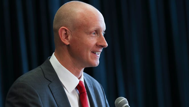 New Louisville basketball head coach Chris Mack made remarks after he was announced at the Yum Center.    Mar. 28, 2018