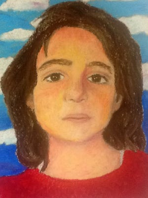 One of the portraits fo the Syrian children drawn by Ithaca High School Art students.