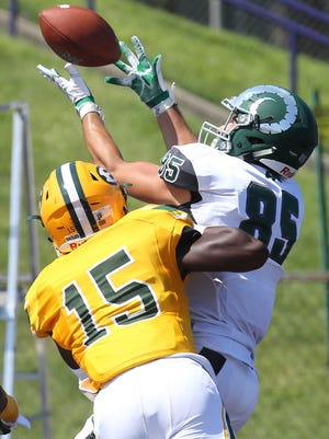 St. Edward safety Michael Dowell defends Pine-Richland receiver Tommy Camino in August 2016. Dowell is a potential MSU recruit.