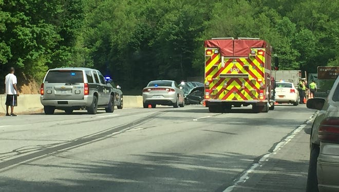 A wreck involving a tractor-trailer and four vehicles closed multiple lanes of I-40 eastbound Tuesday afternoon.