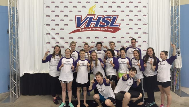 The Waynesboro High School swim team competed at the VHSL state championship on Friday in Richmond. Of the 14 swimmers that competed for the Giants, 12 were aware with all-state honors.