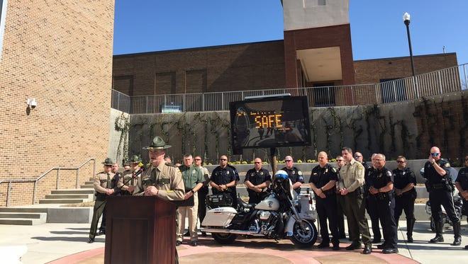 Lt. Bill Miller with Tennessee Highway Patrol speaks at a press conference about Operation Safe Sumner, an effort to prevent car crashes in Sumner County.