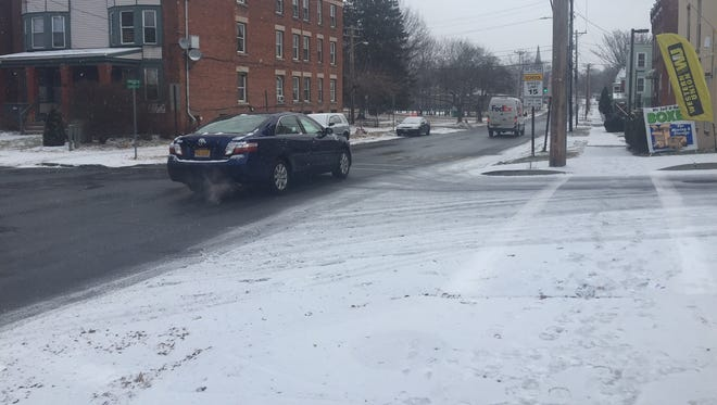 Flurries began falling in the City of Poughkeepsie around 6 a.m. Tuesday.