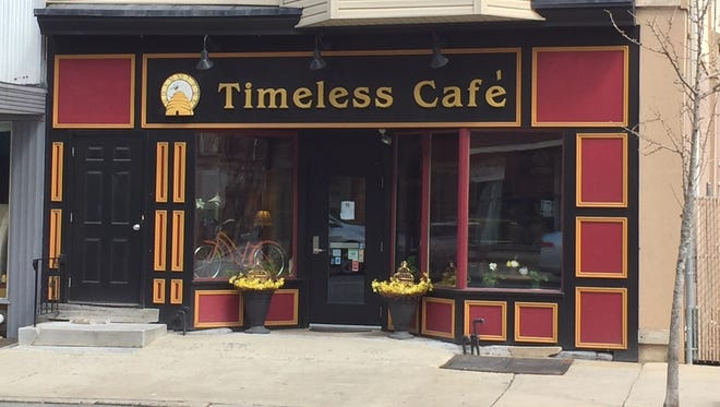 Outside the Timeless Cafe, a cozy spot to enjoy a hot beverage with breakfast or lunch, located downtown across from the Lebanon Farmers Market on South 8th Street.