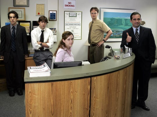 "The cast of the NBC series ""The Office."" From left:"