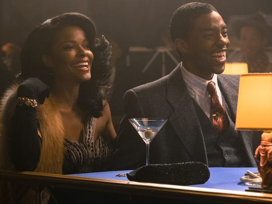 "Chadwick Boseman is Thurgood Marshall and Keesha Sharp is his wife, Buster, in ""Marshall."""
