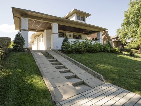 A unique driveway features steps running up the center at Jedd Pearl and Danny Devers' 1922 Prairie Style home in historic Irvington, The home will be on tour Sept. 18.
