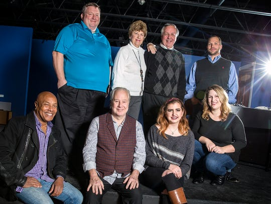 Cast, crew and employees of the Cat; (back row, from