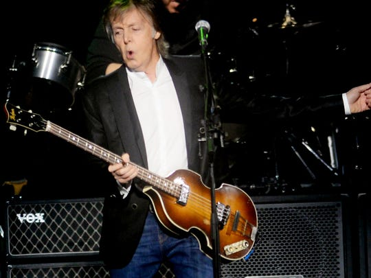 Paul McCartney during the One on One tour at the CenturyLink Center in Bossier City Saturday evening.
