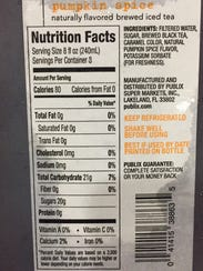 The nutrition facts for the new pumpkin spice sweet