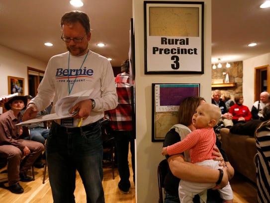 Pete Malmberg, a Bernie Sanders precinct captain, gets