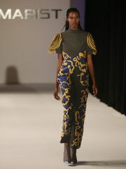 A model wearing clothes designed by Sara Katz during