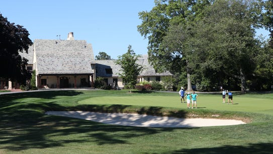 A view of the Quaker Ridge Golf Club clubhouse, photographed