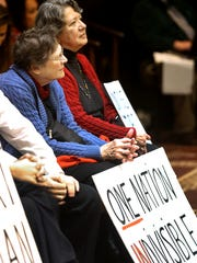 Pat Sanders, left, and Kathy Ferris, supporters of
