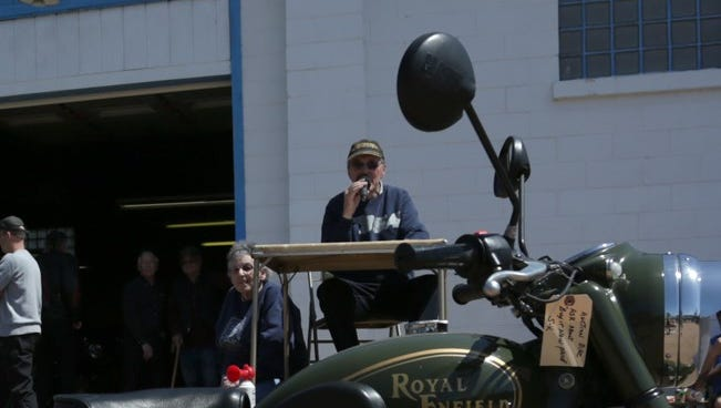 Bill Kasten was the auctioneer at the S-K Service Motorcycle Swap Meet in 2014.
