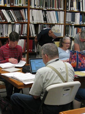 The book room at the Vermont Genealogy Library in Colchester.