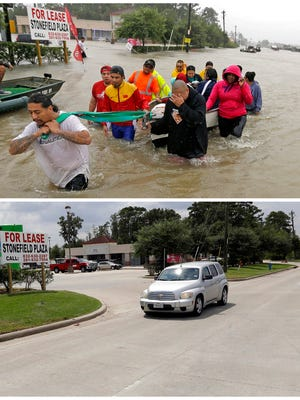 FILE - In this photo combination, evacuees wade down Tidwell Road in Houston on Aug. 28, 2017, top, as floodwaters from Tropical Storm Harvey rise, and a car drives down the same road on Sept. 5, bottom, after the water receded. (AP Photo/David J. Phillip, File)
