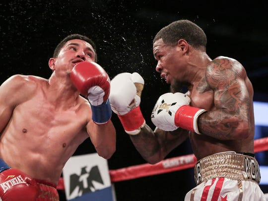 Lamont Roach Jr. lands a punch on Jesus Valdez in their bout at Fantasy Springs.