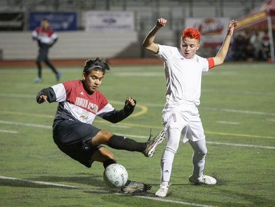 Senior Alejandro Pimentel moves the ball for the Desert Mirage High School boys' soccer team. The Rams beat Indian Springs of San Bernardino 3-2 in the CIF-SS Division 4 championship game.
