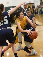 Pascack Valley #3 Kelly Smith drives to the bascket
