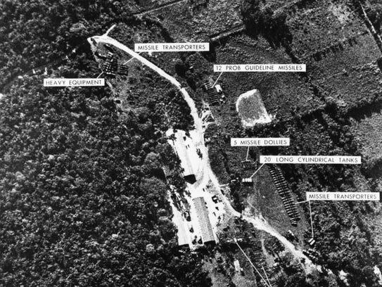U.S. reconnaissance photos showing Soviet missiles