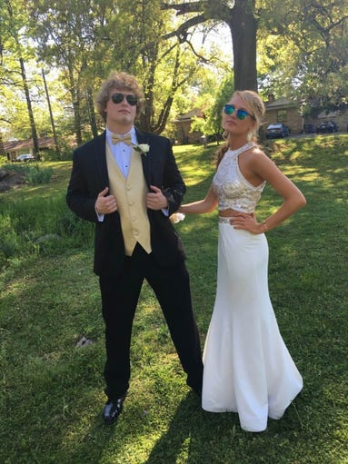 Matthew McClurg and Claire Nichols posed together at Springbook Park before attending Alcoa High School's prom.
