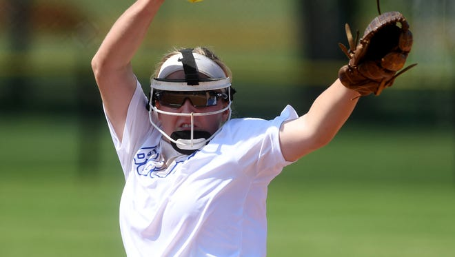 McNairy Central's Katie Turner winds back for a pitch during game 5 of the 2018 TSSAA Class AA softball tournament, Wednesday, May 23. White House Heritage defeated McNairy Central, 1-0.
