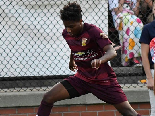 Detroit City FC forward Shawn Lawson, seen here in a match last season, scored the winner on Sunday.