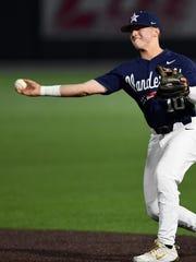 Vanderbilt second baseman Ethan Paul (10) throws to