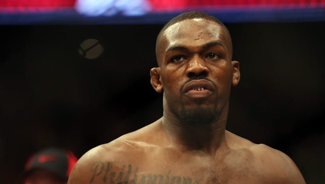 Jon Jones is seen in the ring before his UFC 159 Mixed Martial Arts light heavyweight title bout in Newark, NJ, Saturday, April 27,2013.  Jones retained his title via first round TKO.