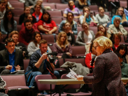Sen. Claire McCaskill answers questions during a town hall meeting in the Plaster Student Union Theatre at Missouri State University on Tuesday, March 27, 2018.