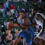 Josh Huestis of the Oklahoma City Blue drives to the basket against the Texas Legends during an NBA Developmental League game on December 5 at the Dr. Pepper Arena in Frisco, Texas.