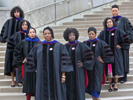"""The """"great eight"""" are eight women of color who will earn Ph.D.s from the IU School of Education. The women formed a sister circle in school to strengthen their ties and have helped each other to be successful.  From left: Jada Phelps Moultrie, Jasmine Haywood, Shannon McCullough, Juhanna Rogers, Demetrees Hutchins, Johari Shuck, Nadrea Njoku and Tiffany Kyser."""