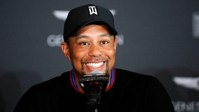 Tiger Woods speaks during media day for the Genesis Open at The Riviera Country Club on Monday.